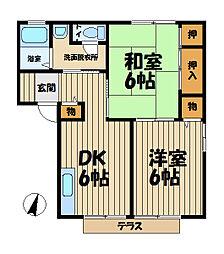 シーガル富士塚[102号室]の間取り