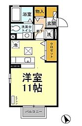 JR高崎線 吹上駅 徒歩12分の賃貸アパート 1階1Kの間取り