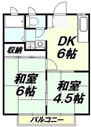 埼玉県入間市鍵山2の賃貸アパートの間取り