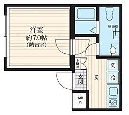 都営三田線 板橋区役所前駅 徒歩5分の賃貸マンション 地下1階1Kの間取り