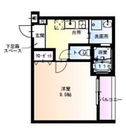 フジパレス瑞光駅東 2階1Kの間取り