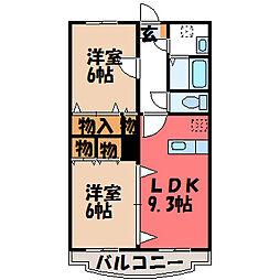 栃木県真岡市長田1丁目の賃貸マンションの間取り