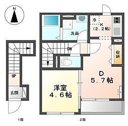 千葉県柏市松葉町3の賃貸アパートの間取り