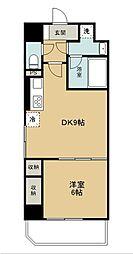 西武新宿線 久米川駅 徒歩1分の賃貸マンション 9階1DKの間取り