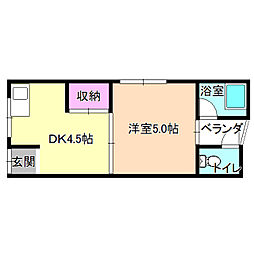 大阪府枚方市渚元町の賃貸アパートの間取り