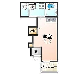 近鉄南大阪線 河内天美駅 徒歩14分の賃貸アパート 1階ワンルームの間取り