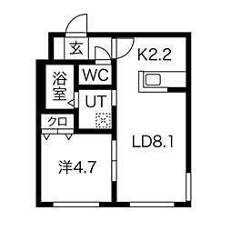 ラグーナ麻生 3階1LDKの間取り