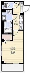 サンシエ大宮 4階1Kの間取り