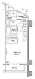ザ・パークハビオ柿の木坂 1階ワンルームの間取り