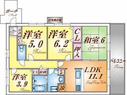 兵庫県神戸市北区西大池2丁目の賃貸マンションの間取り
