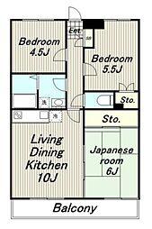 東京都日野市程久保1丁目の賃貸マンションの間取り