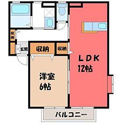 栃木県宇都宮市インターパーク1丁目の賃貸アパートの間取り