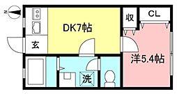武蔵野ハイツ 2階1DKの間取り