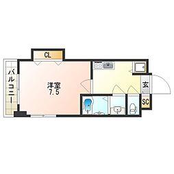 Osaka Metro四つ橋線 花園町駅 徒歩2分の賃貸マンション 14階1Kの間取り