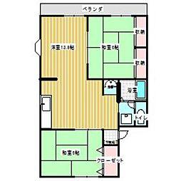 セジュール田隈B[101号室]の間取り