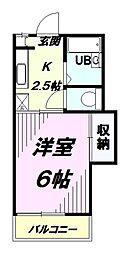 東京都八王子市狭間町の賃貸アパートの間取り