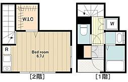JR中央線 高円寺駅 徒歩7分の賃貸アパート 2階ワンルームの間取り