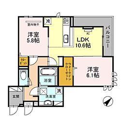 南海線 泉大津駅 徒歩8分の賃貸アパート 2階2LDKの間取り