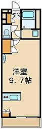 西武国分寺線 小川駅 徒歩20分の賃貸マンション 3階ワンルームの間取り