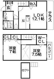 [テラスハウス] 大阪府交野市星田9丁目 の賃貸【/】の間取り