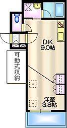 東京メトロ日比谷線 中目黒駅 徒歩9分の賃貸マンション 2階1DKの間取り