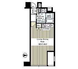 東京メトロ半蔵門線 半蔵門駅 徒歩2分の賃貸マンション 3階ワンルームの間取り