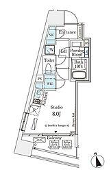 パークナードフィット南青山Vista 12階ワンルームの間取り