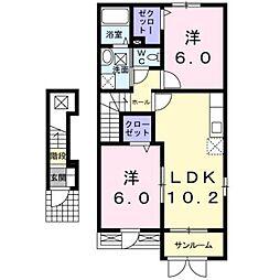 新潟県燕市八王寺の賃貸アパートの間取り