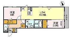 JR阪和線 百舌鳥駅 徒歩17分の賃貸アパート 1階2LDKの間取り