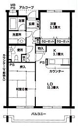 神奈川県横浜市青葉区市ケ尾町の賃貸マンションの間取り