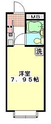 東武東上線 上福岡駅 徒歩5分の賃貸マンション 1階ワンルームの間取り