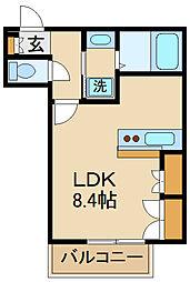 京王線 東府中駅 徒歩6分の賃貸マンション 2階ワンルームの間取り