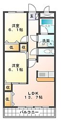 愛知県豊田市浄水町南平の賃貸マンションの間取り