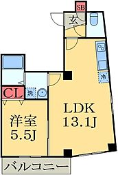 JR外房線 本千葉駅 徒歩5分の賃貸マンション 5階1DKの間取り