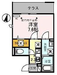JR武蔵野線 吉川駅 徒歩4分の賃貸アパート 1階1Kの間取り