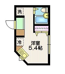 JR山手線 池袋駅 徒歩12分の賃貸アパート 1階ワンルームの間取り