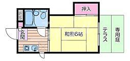 阪急京都本線 相川駅 徒歩8分の賃貸マンション 1階1Kの間取り