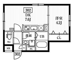 エルファーロ神楽坂 1階1DKの間取り