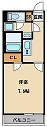 JR東北本線 土呂駅 徒歩10分の賃貸マンション 2階1Kの間取り
