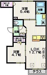 Maison ailes 1階2LDKの間取り