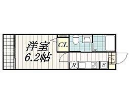 ベルメント東千葉 1階1Kの間取り