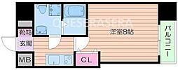 Osaka Metro堺筋線 北浜駅 徒歩5分の賃貸マンション 11階1Kの間取り