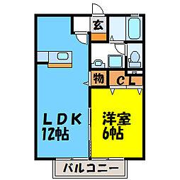 栃木県宇都宮市戸祭4の賃貸アパートの間取り