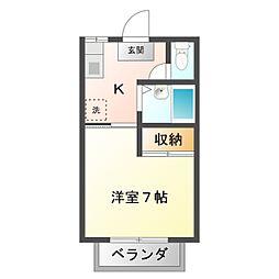 愛知県豊橋市西高師町字沢向の賃貸アパートの間取り