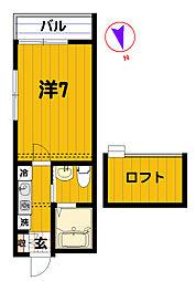 神奈川県横浜市神奈川区泉町の賃貸アパートの間取り
