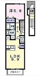 ファインブライト府中 2階1LDKの間取り