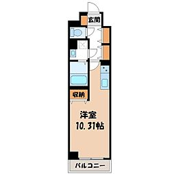 (仮称)元今泉マンション 8階ワンルームの間取り