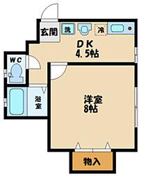 ドーム多摩P棟 2階1DKの間取り