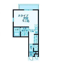 神奈川県川崎市中原区下新城1丁目の賃貸アパートの間取り
