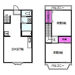 おおさか東線 城北公園通駅 徒歩13分の賃貸マンション 2階2DKの間取り